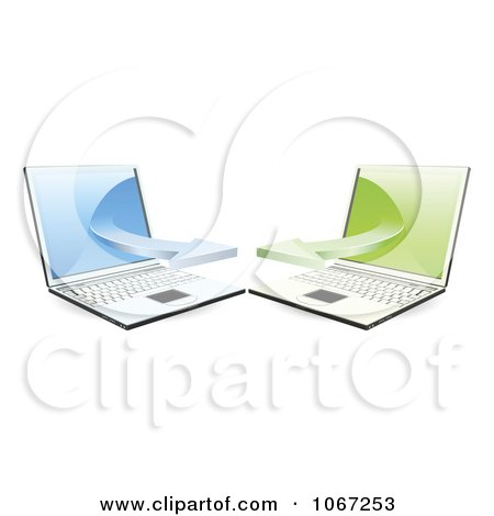 Clipart 3d Laptops Communicating On A Network - Royalty Free Vector Illustration by AtStockIllustration