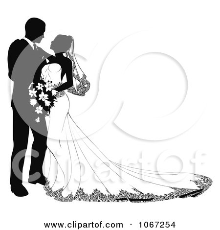 Clipart Bride And Groom Leaning In To Kiss - Royalty Free Vector Illustration by AtStockIllustration