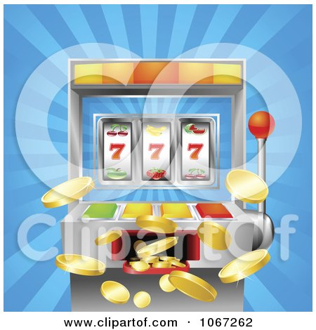Clipart 3d Winning Slot Machine With Jackpot Coins Flying Out - Royalty Free Vector Illustration by AtStockIllustration