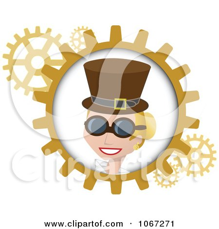 Clipart Blond Steampunk Woman And Gears - Royalty Free Vector Illustration by mheld