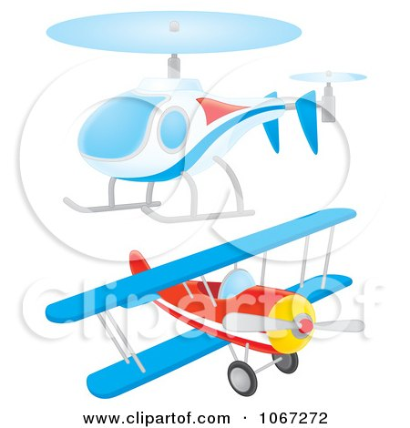 Clipart Helicopter And Biplane - Royalty Free Illustration by Alex Bannykh