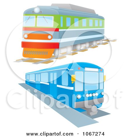 Clipart Two Trains - Royalty Free Illustration by Alex Bannykh