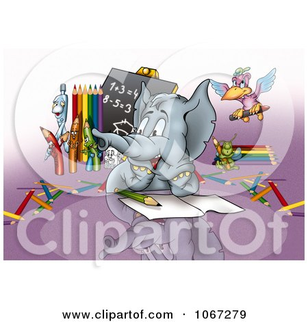 Clipart Student Elephant In Math Class - Royalty Free Illustration by dero
