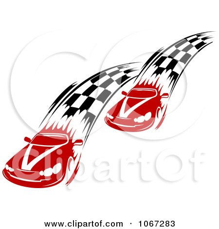 Clipart Two Racecars With Checkered Paths - Royalty Free Vector Illustration by Vector Tradition SM
