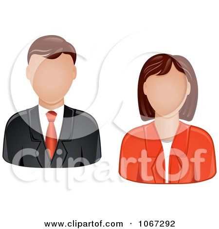 Clipart Business Man And Woman Avatars - Royalty Free Vector Illustration by Vector Tradition SM