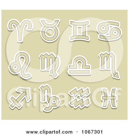 Clipart Tan And White Astrology Symbols - Royalty Free Vector Illustration by Vector Tradition SM