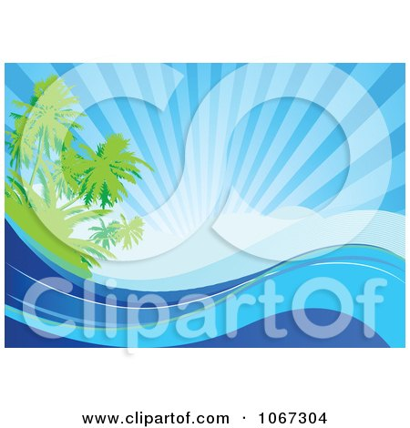 Clipart Sunny Palm Tree And Ocean Wave Background - Royalty Free Vector Illustration by Pushkin