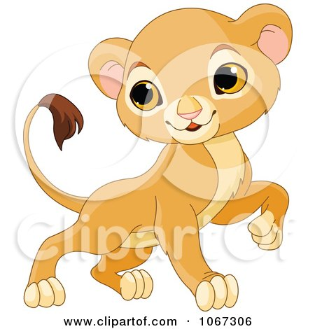 Clipart Brave Baby Lion - Royalty Free Vector Illustration by Pushkin