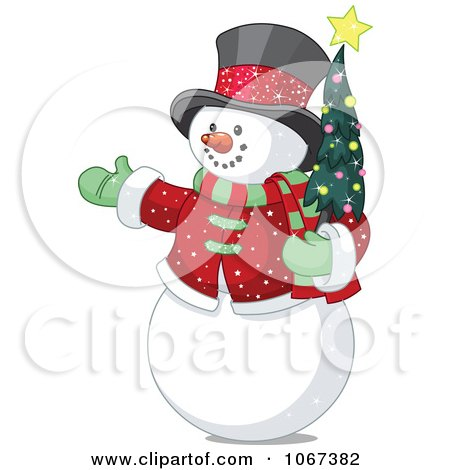 Clipart Snowman Holding A Tiny Christmas Tree - Royalty Free Vector Illustration by Pushkin
