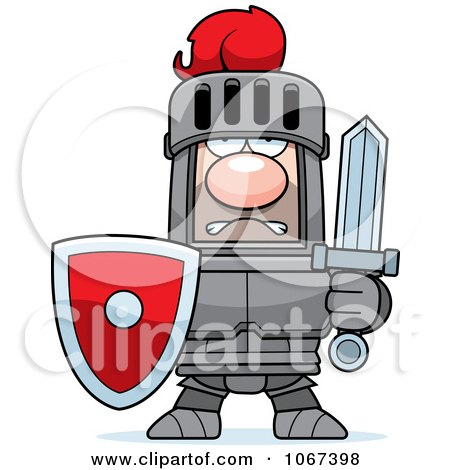 Clipart Tough Knight In Red And Gray Armor - Royalty Free Vector Illustration by Cory Thoman