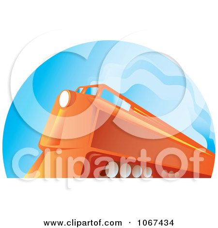 Clipart Orange Diesel Train - Royalty Free Vector Illustration by patrimonio