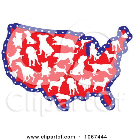 Clipart Dog Breed USA Map - Royalty Free Vector Illustration by Maria Bell