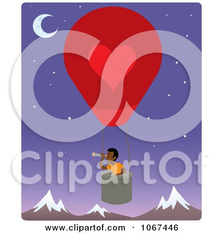 Clipart Boy In A Hot Air Balloon, Looking Out Over Mountains 3 - Royalty Free Vector Illustration by Rosie Piter