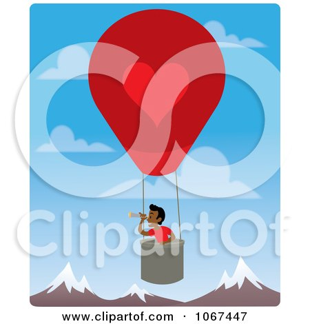 Clipart Boy In A Hot Air Balloon, Looking Out Over Mountains 4 - Royalty Free Vector Illustration by Rosie Piter