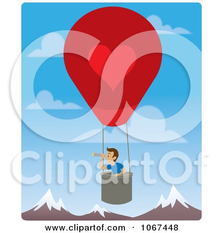 Clipart Boy In A Hot Air Balloon, Looking Out Over Mountains 1 - Royalty Free Vector Illustration by Rosie Piter
