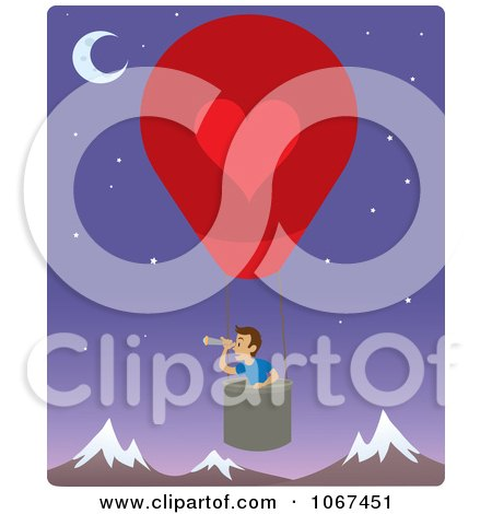 Clipart Boy In A Hot Air Balloon, Looking Out Over Mountains 2 - Royalty Free Vector Illustration by Rosie Piter