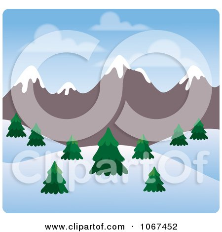 Clipart Day Time Wintry Mountainous Landscape - Royalty Free Vector Illustration by Rosie Piter