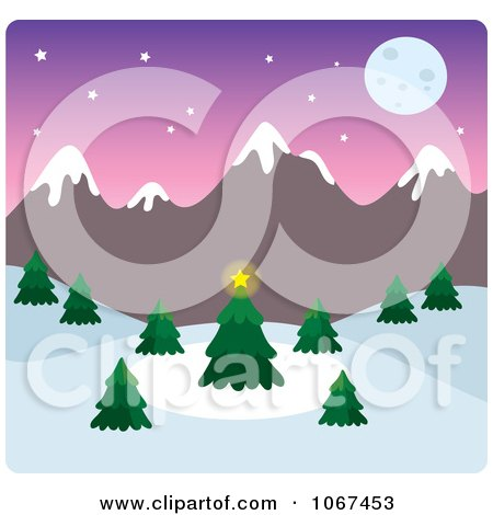 Clipart Full Moon Wintry Mountainous Landscape - Royalty Free Vector Illustration by Rosie Piter