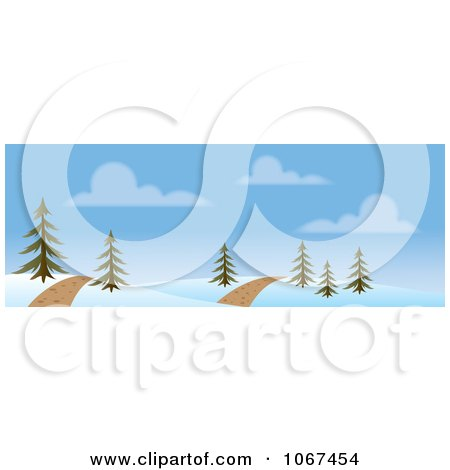 Clipart Path Through A Winter Landscape Banner - Royalty Free Vector Illustration by Rosie Piter