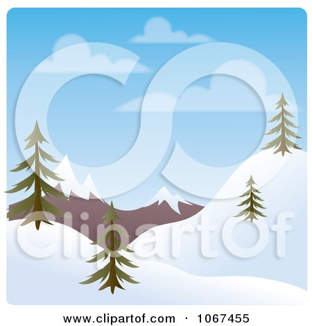 Clipart Day Time Winter Hillside Landscape - Royalty Free Vector Illustration by Rosie Piter