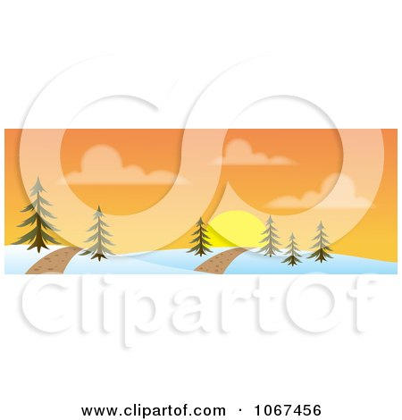 Clipart Path Through A Sunset Winter Landscape Banner - Royalty Free Vector Illustration by Rosie Piter