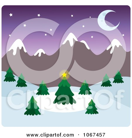 Clipart Dusk Wintry Mountainous Landscape - Royalty Free Vector Illustration by Rosie Piter