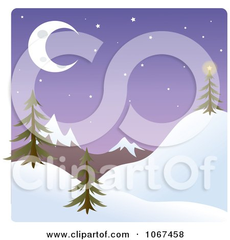 Clipart Dusk Winter Mountainous Landscape - Royalty Free Vector Illustration by Rosie Piter