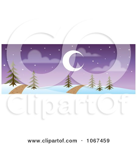 Clipart Path Through A Night Time Winter Landscape Banner - Royalty Free Vector Illustration by Rosie Piter