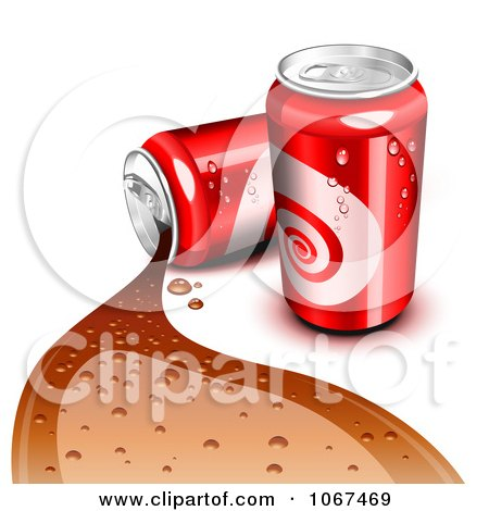 Clipart 3d Red Cola Cans One Spilling - Royalty Free Vector Illustration by Oligo