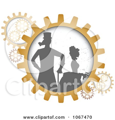 Clipart Silhouetted Steampunk Couple In Gears - Royalty Free Vector Illustration by mheld