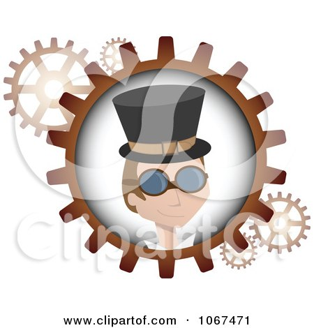 Clipart Steampunk Man And Gears - Royalty Free Vector Illustration by mheld