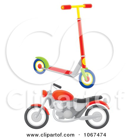 Clipart Scooter And Motorcycle - Royalty Free Illustration by Alex Bannykh