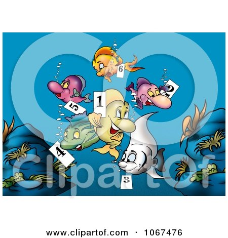 Clipart Fish Holding Number Tags - Royalty Free Illustration by dero