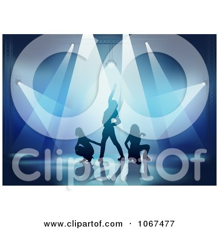 Clipart Three Dancers In The Spotlights - Royalty Free Vector Illustration by dero