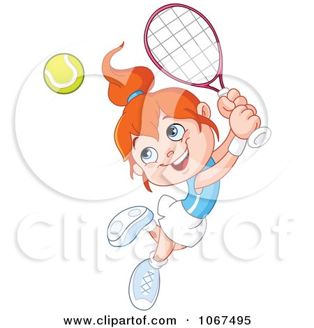 Clipart Tennis Girl Leaping To Hit A Ball - Royalty Free Vector Illustration by yayayoyo