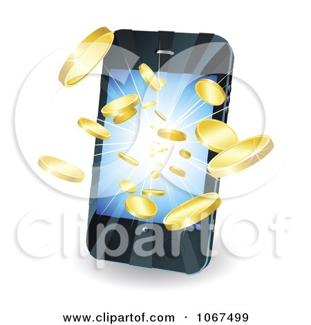 Clipart 3d Gold Coins Bursting Out Of A Cell Phone - Royalty Free Vector Illustration by AtStockIllustration