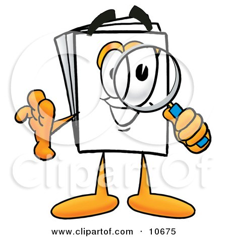 Clipart Picture of a Paper Mascot Cartoon Character Looking Through a Magnifying Glass by Toons4Biz