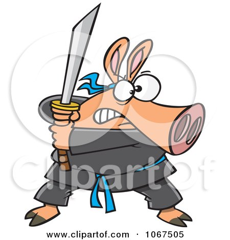 Clipart Ninja Pig With Sword - Royalty Free Vector Illustration by Ron Leishman