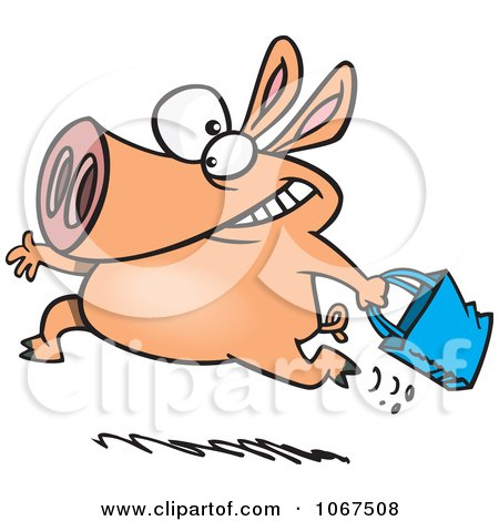 Clipart Shopping Pig - Royalty Free Vector Illustration by toonaday