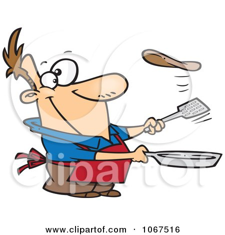 Clipart Man Flipping A Flapjack - Royalty Free Vector Illustration by toonaday