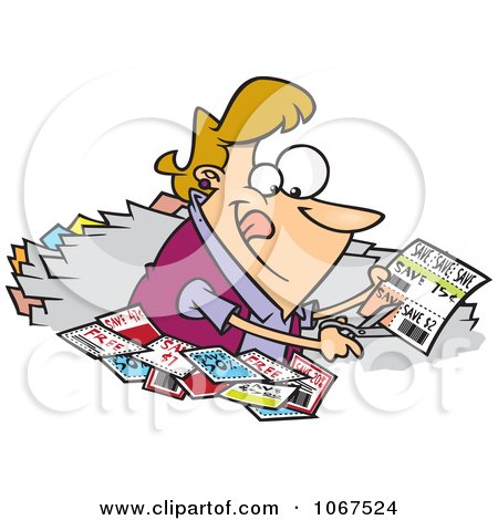 Clipart Woman Clipping Coupons - Royalty Free Vector Illustration by toonaday