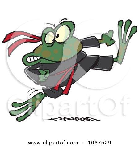 Clipart Ninja Frog Kicking - Royalty Free Vector Illustration by toonaday