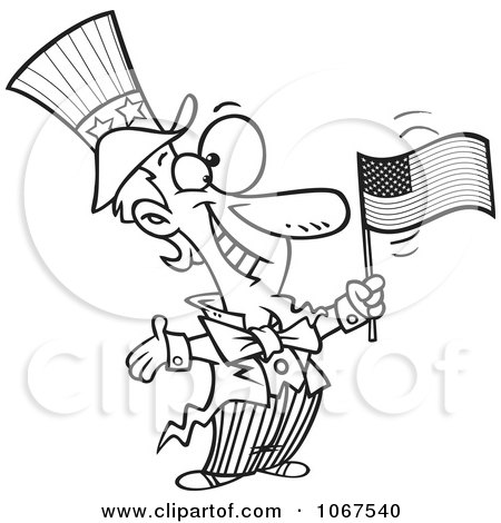 Clipart Outlined Patriotic Uncle Sam - Royalty Free Vector Illustration by toonaday