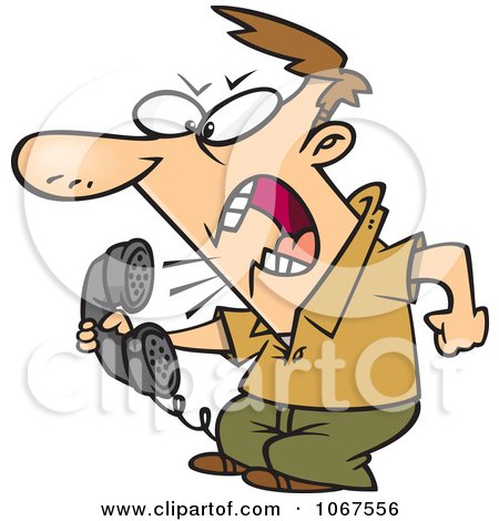 Clipart Irate Man Screaming Into The Phone - Royalty Free Vector Illustration by toonaday