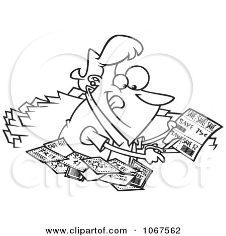 Clipart Outlined Woman Clipping Coupons - Royalty Free Vector Illustration by toonaday