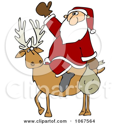 Clipart Santa On A Reindeer - Royalty Free Vector Illustration by djart