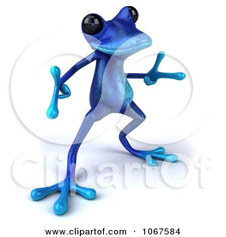 Clipart 3d Blue Springer Frog Dancing 3 - Royalty Free CGI Illustration by Julos