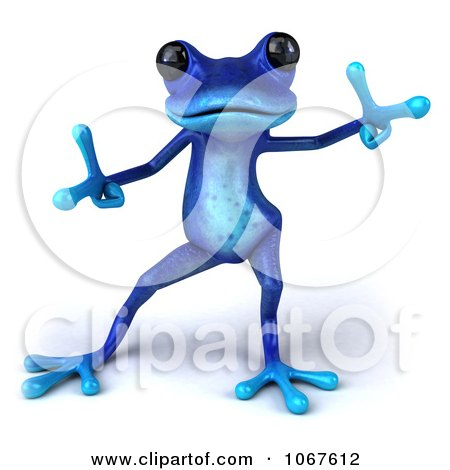 Clipart 3d Blue Springer Frog Dancing 2 - Royalty Free CGI Illustration by Julos