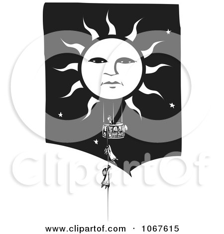 Clipart Girls Climbing A Rope To A Sun Basket - Royalty Free Vector Illustration by xunantunich