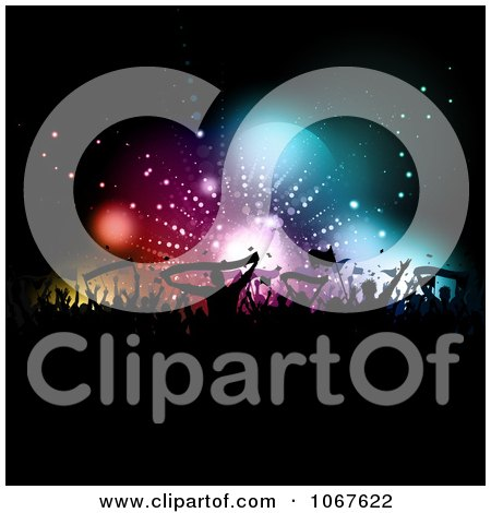 Clipart Silhouetted Crowd Holding Banners And Flags - Royalty Free Vector Illustration by KJ Pargeter